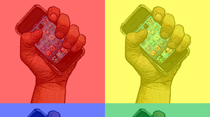 hands holding cellphones in Warhol-inspired pattern