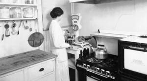 woman in the UW-Madison practice cottage, ca. 1910