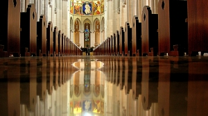 The aisle of a church