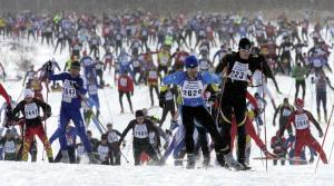 Skiers at the American Birkebeiner