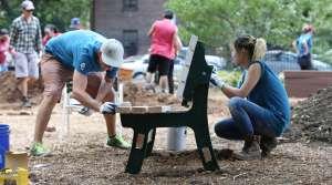 People volunteering in a park