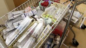 Medical supplies in a cart