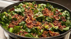 Read full article: Red Onion Greens with Turkey Bacon