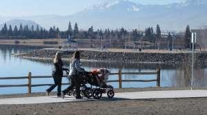 Women pushing strollers