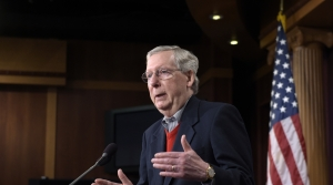 Mitch McConnell speaks at a news conference