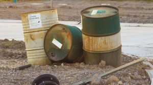 old chemical barrels