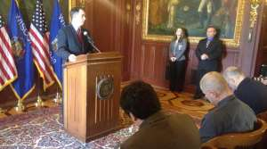 Scott Walker addresses reporters