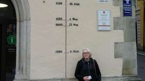 Photo of flood high-water marks in Passau, Bavaria