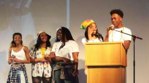 Members of X-Clusive Movement accepting the award for Hip-Hop Dancers of the Year