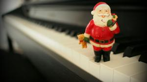 toy Santa on keyboard