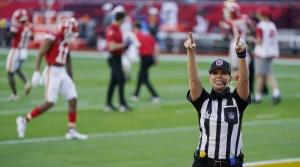 Down judge Sarah Thomas at Super Bowl 55 in Tampa, Fla.