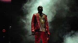 Kanye West performing at Lollapalooza in Chile in 2011