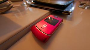 Pink Motorola flip phone