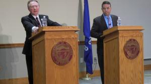 94th Assembly District state Rep. Steve Doyle, D-Onalaska and challenger Albert Rohland, R-La Crosse, at a debate on the UW-La Crosse campus on Tuesday, Oct 23.