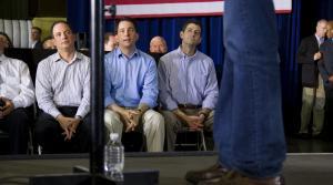 RNC chairman Reince Priebus, left, Gov. Scott Walker,center, and U.S. House SpeakerPaul Ryan