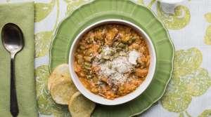 leek, sausage and split-pea soup
