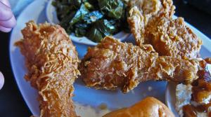 Fried chicken, collard greens