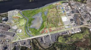 An overhead view of La Crosse's Riverside North project