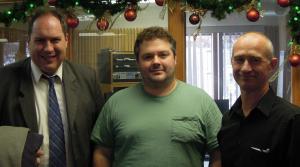 Jesse Horne of WEAU 13 News Rich Kremer of WPR and Gary Johnson of The Leader Telegram