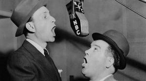 Photo of radio comedians Bud Abbott and Lou Costello