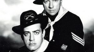 Photo of radio actors Raymond Burr and Harry Bartell