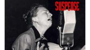 Suspense program actor in front of microphone