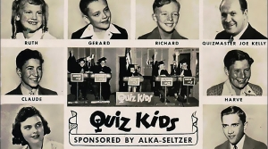 Postcard promoting the 1940s radio program Quiz Kids