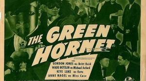 Promotional illustration for the radio program The Green Hornet