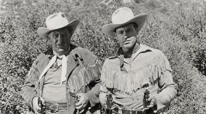 Photo of radio actors Andy Devine and Guy Madison who starred in Wild Bill Hickok