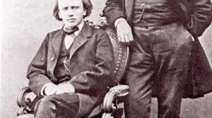 Johannes Brahms (seated) and Joseph Joachim