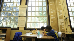 Children in a classroom by windows