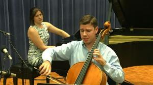 Photo of cellist Zachary Preucil with pianist Katherine Petersen