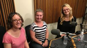 Photo of Jenni Brandon, Laura Medisky and Iva Ugrčić in the WPR studios