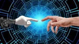 AI hand meeting human hand