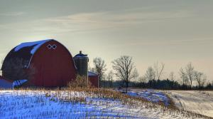 wisconsin farm scene with red barn