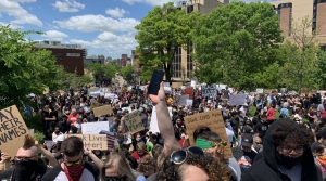 Protesters gathered near the state Capitol in Madison on Saturday afternoon to demonstrate against the death of George Floyd in Minneapolis.