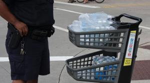 water bottles from Festival Foods handed out to emergency workers