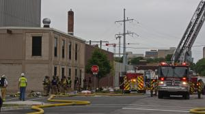 Madison firefighters and Madison Gas and Electric staff
