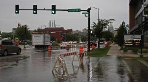 Flooding on East Washington Avenue in Madison slows the morning commute