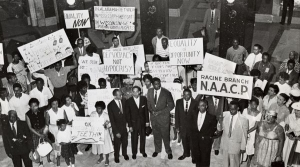 Civil Rights Movement participants protest in the Wisconsin State Capitol