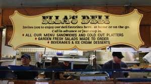 Ella's Deli menu sign