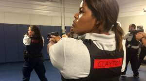 Recruit Julie Clayton on the first day of firearms training at the Madison Police Training Center.