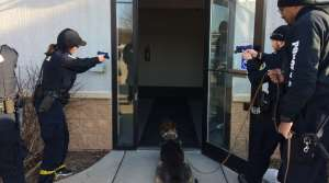 Madison Police recruits Clare Gloede and Rok Locksley practice working with a police K9.