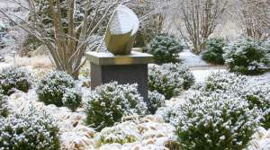 sculpture in garden in winter