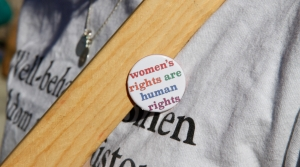 Women's rights are human rights lapel pin.