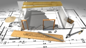 Blueprint of house remodel.