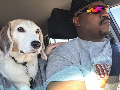 Pierre Young of Milwaukee is seen with his dog Duncan