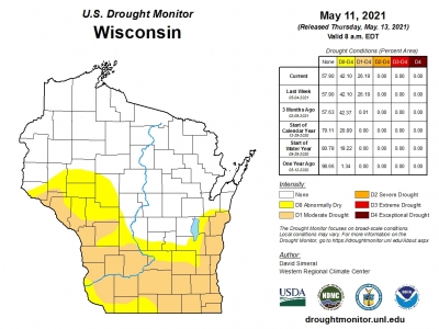 A map shows the risk of fire conditions in Wisconsin as of May 11, 2021