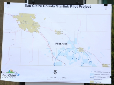 A map shows the areas of Eau Claire County that will be part of aStarlink high-sped internet pilot program