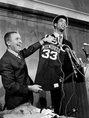 Kareem Abdul-Jabbar at the 1969 NBA Draft when he was drafted to the Milwaukee Bucks